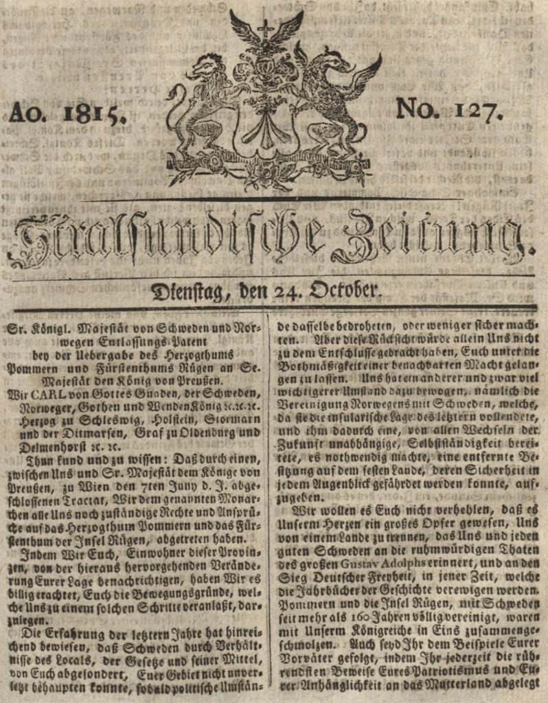 Ausgabe vom Dienstag, den 24. Oktober 1815.
