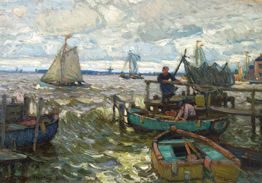 Hans Hartig, Im Hafen von Neuwarp,1916, Privatsammlung Potsdam
